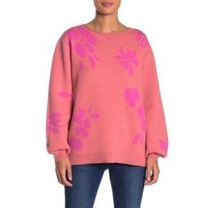 14th & Union Floral Jacquard Knit Sweater